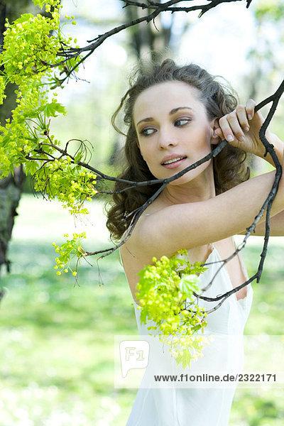 junge Frau hält blühenden Baum-Zweig  Wegsehen