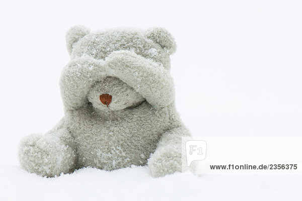 Teddy bear sitting in snow  covering its eyes with its hands