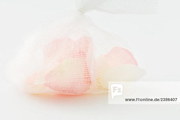 Flower petals in mesh bag  close-up
