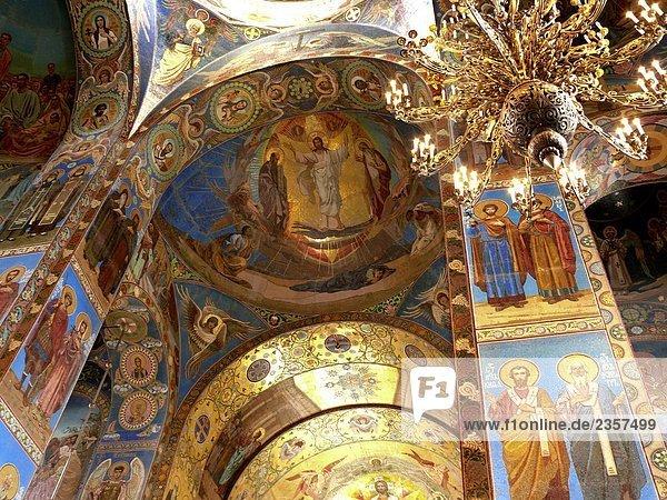 Decke  Kirche auf vergossenen Blutes  St Petersburg  Russland