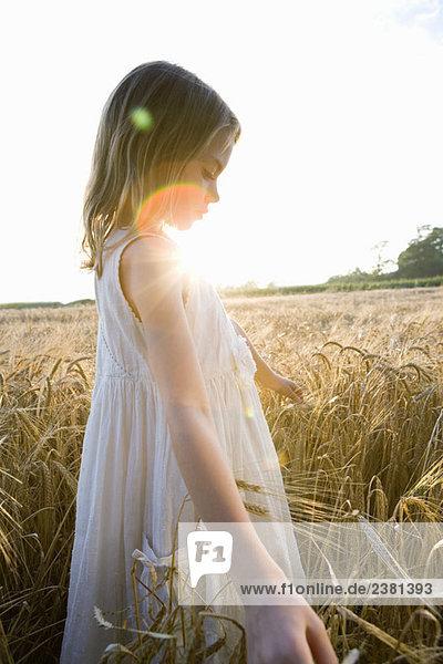 Mädchen beim Laufen im Maisfeld  Linsenfackel