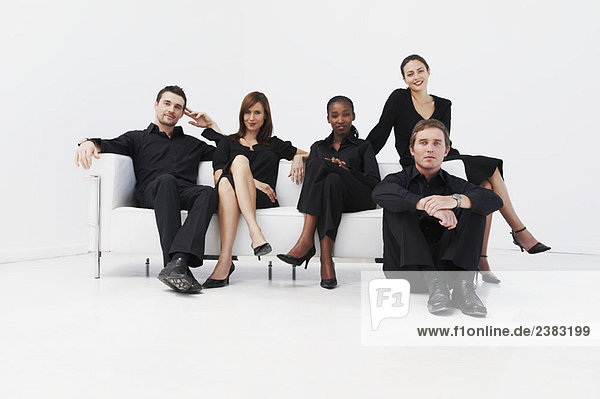 Relaxed  seated business group