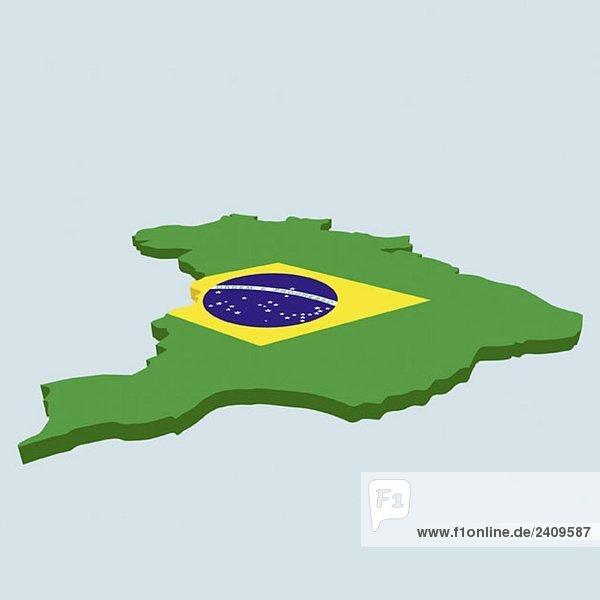 Die brasilianische Flagge in Form von Brasilien