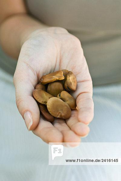 Handvoll trockene Bohnen Handvoll trockene Bohnen