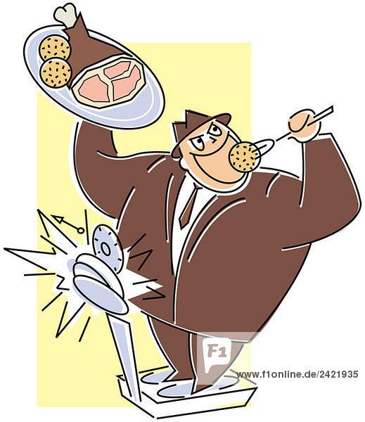 Mann auf Waage isst Braten und Knödel
