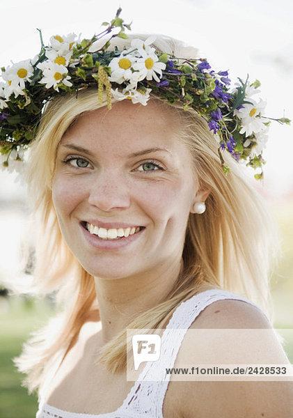 Happy girl celebrating midsummer