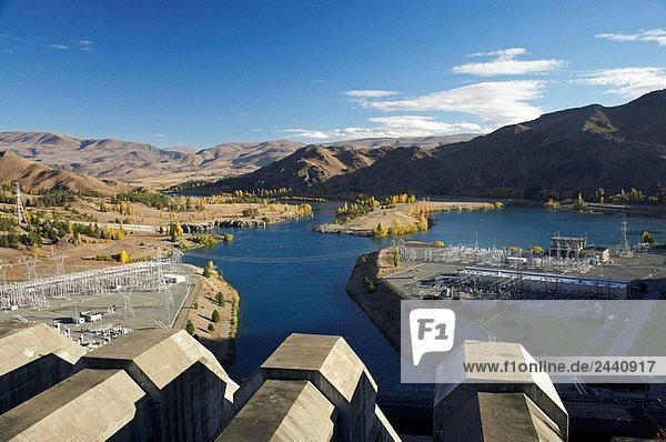Lake Aviemore and Benmore Power Station  Waitaki Valley  North Otago  South Island  New Zealand