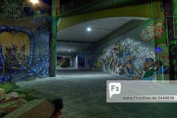 Graffiti auf Wand der Unterführung  Hessen  Deutschland