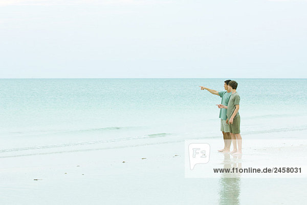 Man and teen boy standing at the beach  looking at view  man pointing