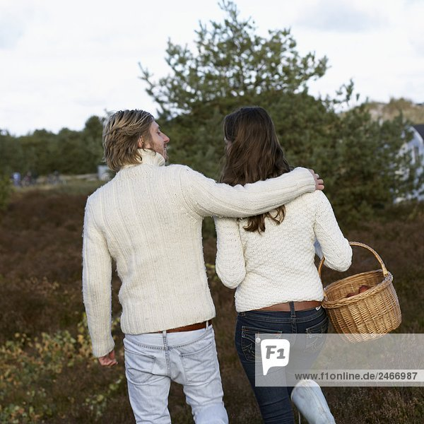 Young couple walking together Skane Sweden.