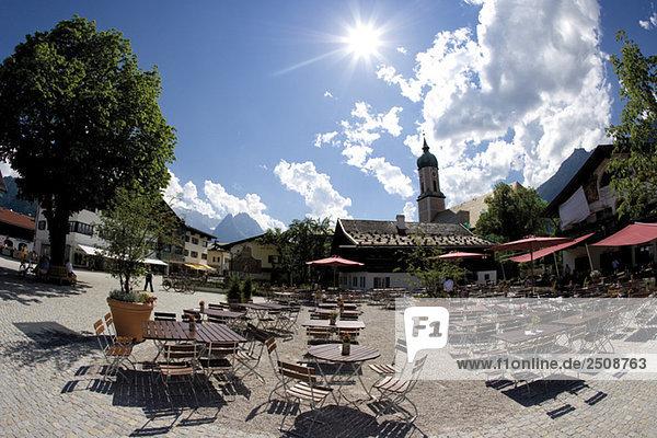 Deutschland  Bayern  Garmisch-Partenkirchen  Sidewalk Cafe