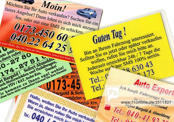 Visitenkarten  Gebrauchtwagenhandel  Nahaufnahme