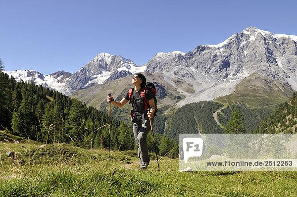 Weibliche Wanderer zu Fuß auf Landschaft  Trentino-Alto Adige  Italien