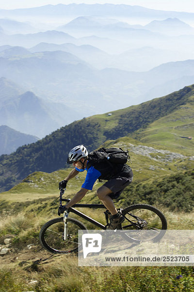 Mountainbike rider in the mountains
