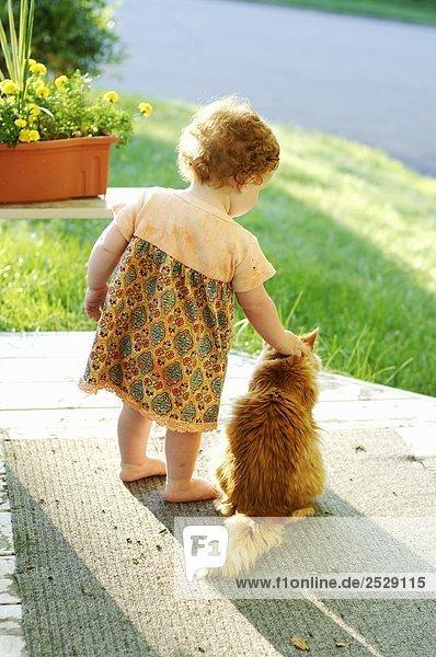 Kleine Mädchen auf einer Veranda mit einer Katze