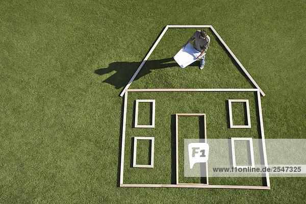 stehend Wohnhaus Silhouette Architekt Blaupause innerhalb