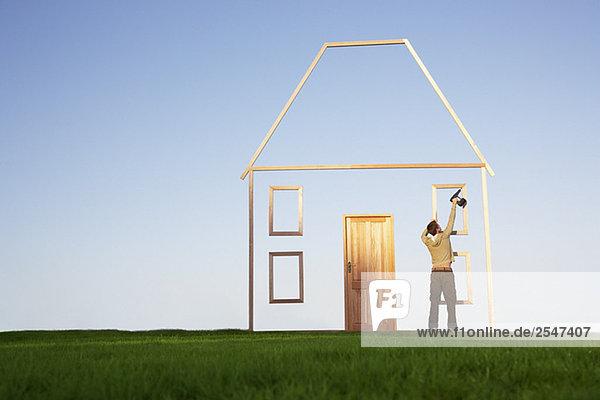 benutzen, Mann, Wohnhaus, Silhouette, Bohrmaschine, Bohrer