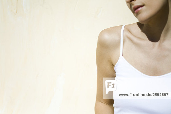 Woman wearing tank top  cropped view