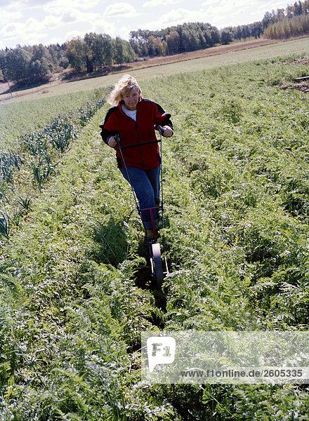 Eine Frau in ihrer ökologischen Ackerland Aloppe Schweden arbeiten