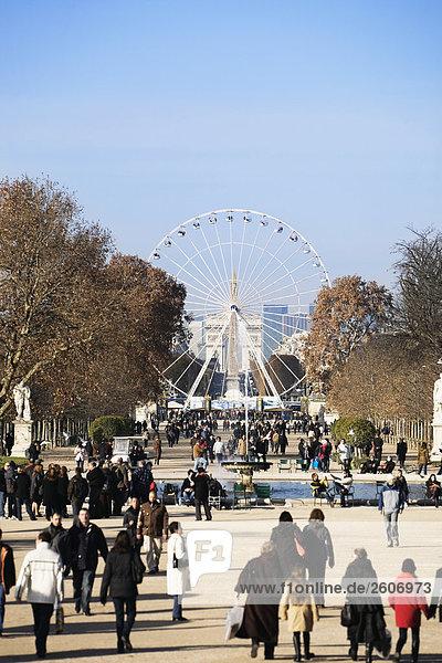 Menschenmenge im Jardin du Tuileries  Reisenrad  Paris  Frankreich