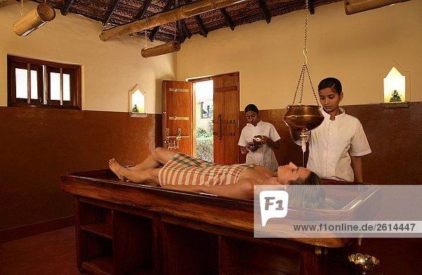 Shirodhara Treatment at Indus Valley Ayurvedic Center in Mysore  India