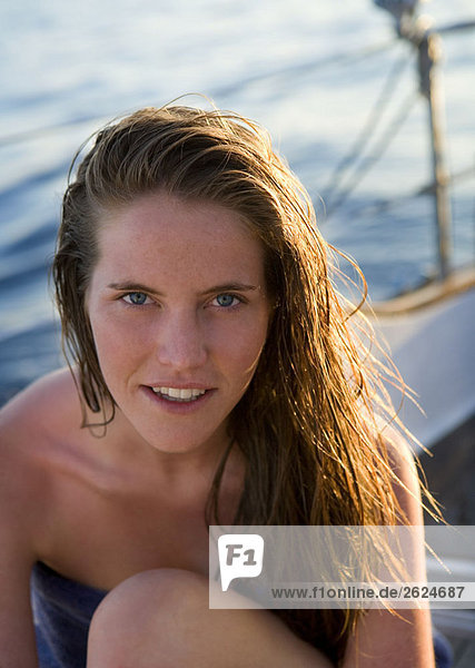 Young woman portrait on boat