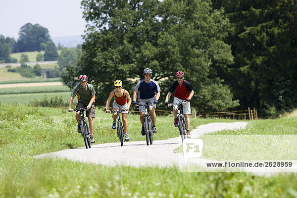 Germany  Bavaria  Oberland  Four mountainbikers riding across path