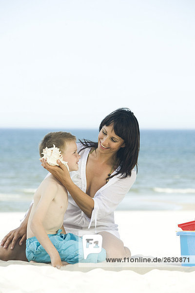 Strand Sohn Mutter - Mensch spielen