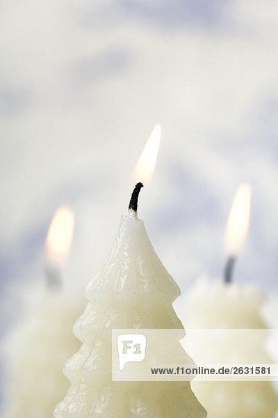Weiße Weihnachtsbaumkerzen brennend