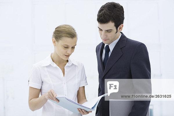Kollegen schauen sich gemeinsam das Dokument an