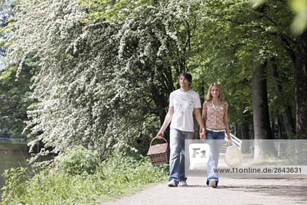 junges paar gehen hand in hand durch park
