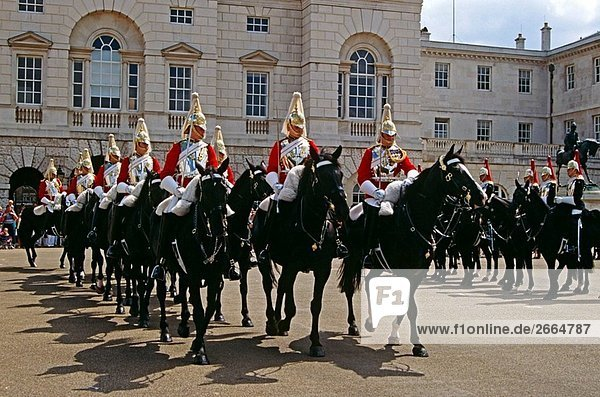 Horse guards on horses  changing of the guard  Horse Guards Parade  Whitehall  London  England