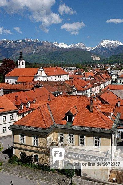 Kamnik  old town houses  Franciscan Monastery  1495  Church of St Jacob  15th century  redesigned in Baroque style  Kamniske Savinje Alps  Slovenia