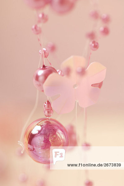 Pink decorative garland  extreme close-up