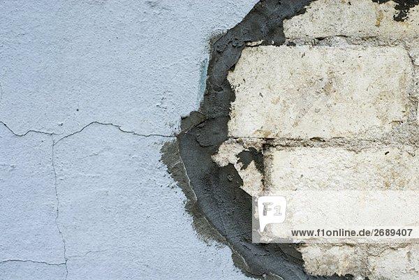 Nahaufnahme der reparierten Wand