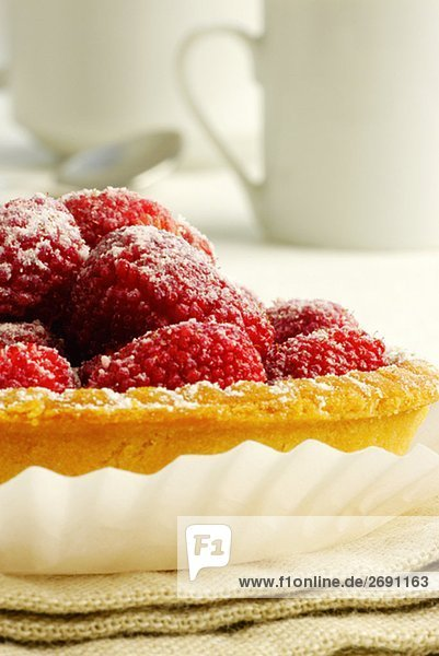 Nahaufnahme erdbeere Tart in einem Teller