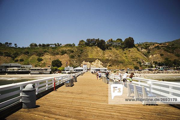 Panoramic view of a pier  Malibu  California  USA
