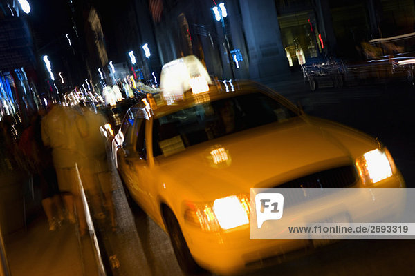 Taxi moving on the road  New York City  New York State  USA