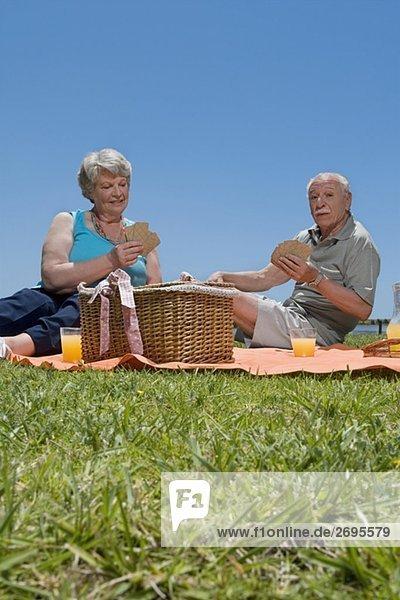 Senior Senioren Picknick Karte spielen