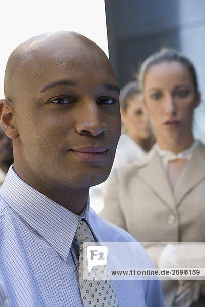 Geschäftsfrau Geschäftsmann lächeln Hintergrund Close-up 2