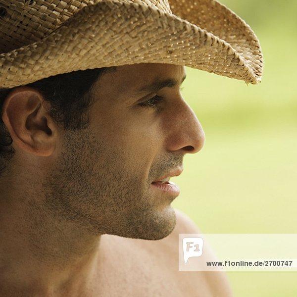 Nahaufnahme eines Mitte erwachsenen Menschen tragen einen Hut