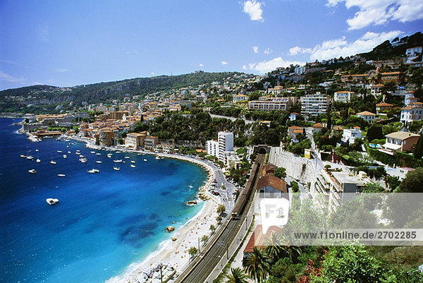 High angle view of a city and a beach  Ville Frenche  France