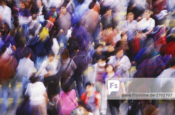 High angle view of a crowd  Hong Kong  China