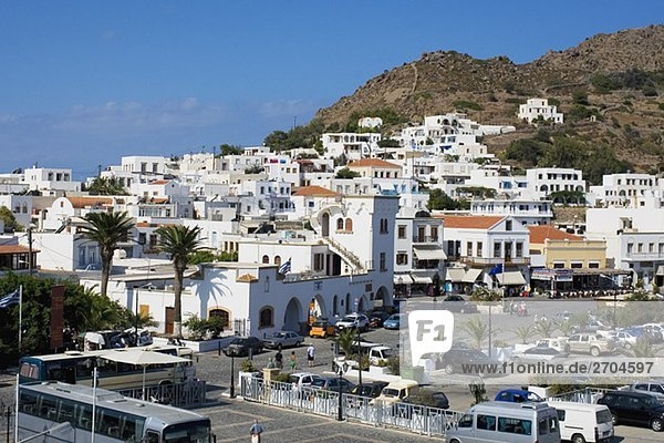 High angle view of buildings in a city  Skala  Patmos  Dodecanese Islands  Greece