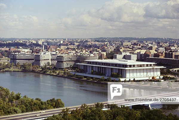 High angle view of a bridge over a river  Kennedy Center  Watergate Building  Washington DC  USA