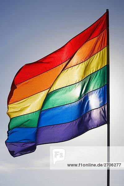 Nahaufnahme eine Regenbogenfahne