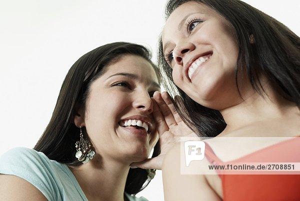 Untersicht einer jungen Frau mit einem anderen jungen Frau Flüstern