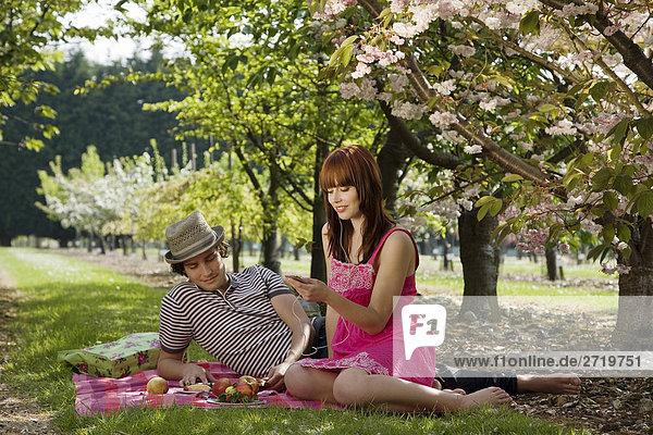 Paar Picknick im Obstgarten