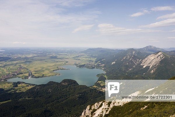 Germany  Bavaria  Herzogstand  Kochelsee  view of valley with lake