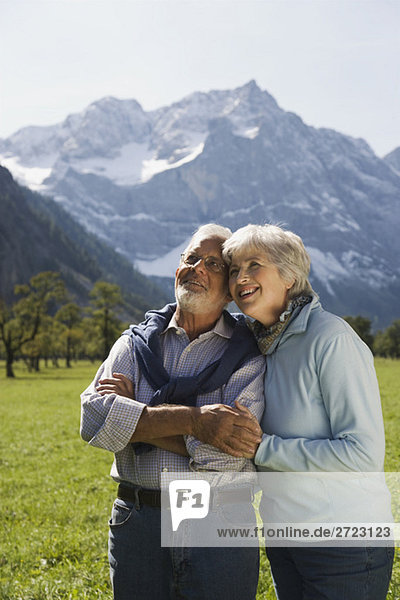 Austria  Ahornboden  Senior couple in mountain secenery